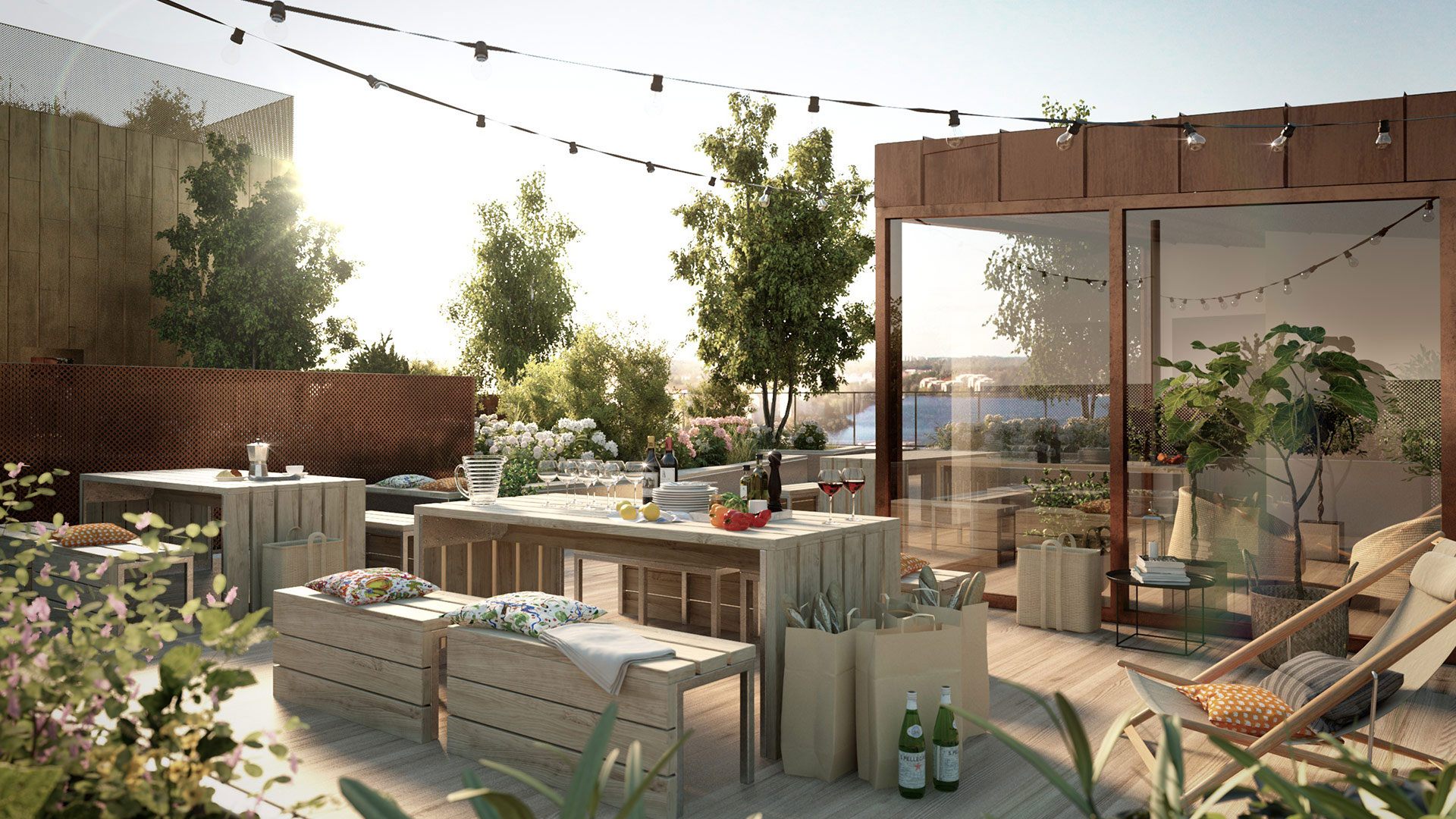 Etaget – ett nytt bostadsrättshus på Kungsholmen i Stockholm där de boende kan använda taket för odling och umgänge. Foto: Tobin Properties