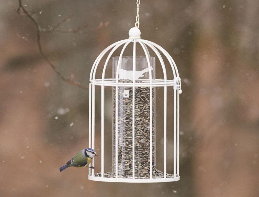 Fågelmatare med energirik mat har sin givna plats i en fågelvänlig trädgård.
