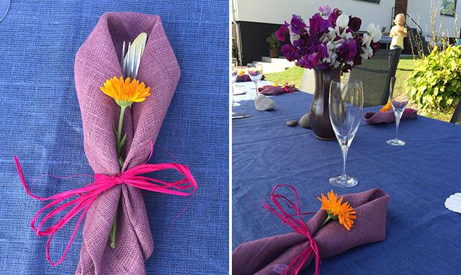 Duka med blommor - ringblomman är vacker på en enkel servett av lin.