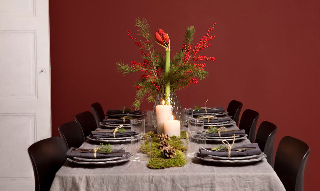 Juldukning i grått och rött
