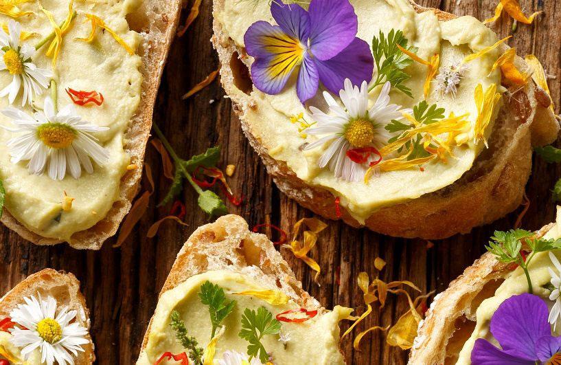 Ätbara blommor av tusensköna och viol som topping på en toast med hemlagad hummus.