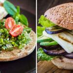 Trädgårdens hamburgare med egenodlade grönsaker
