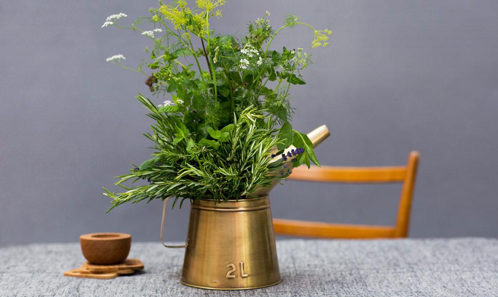 Vacker ätbar bukett med kryddväxter
