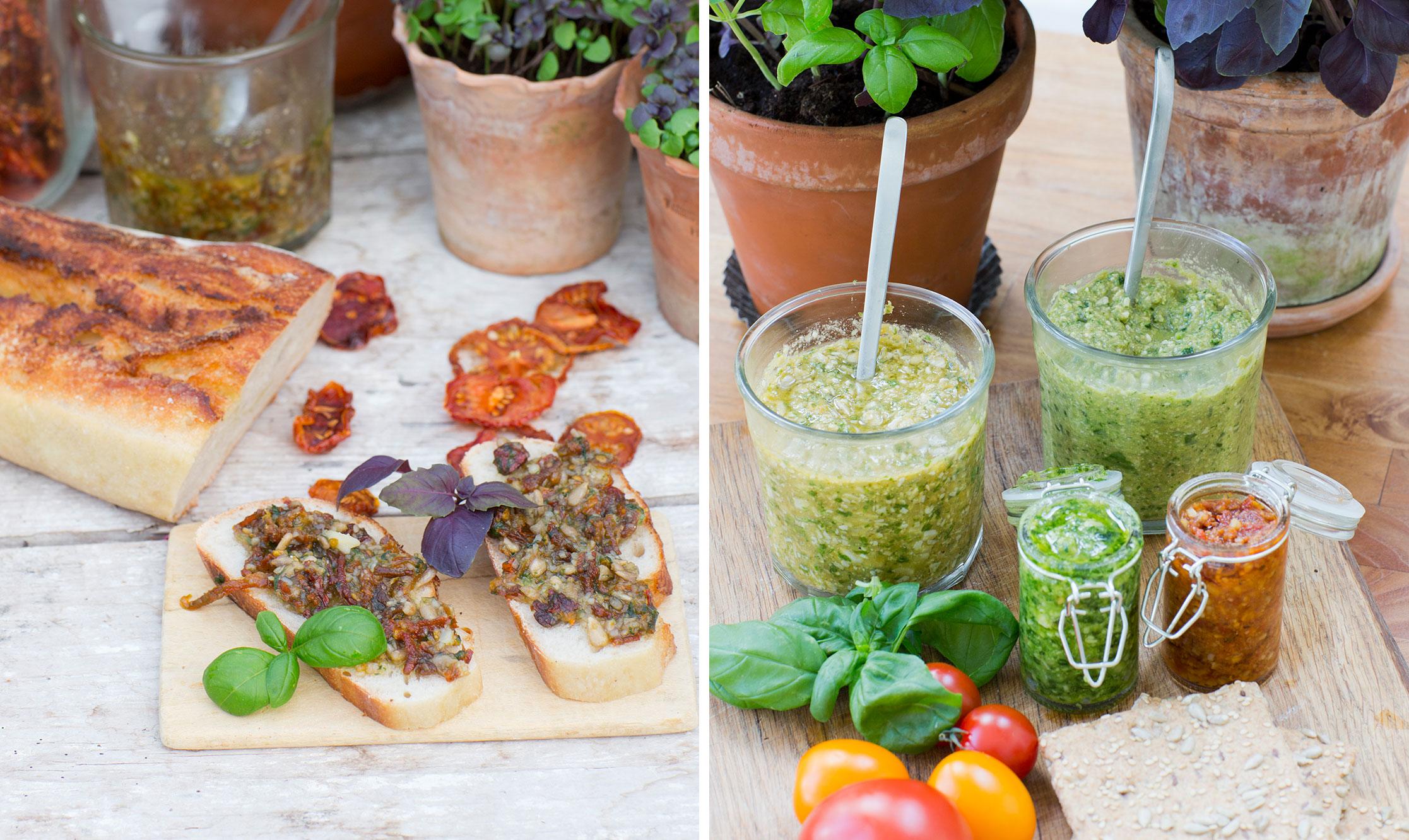 Pesto med basilika och soltorkade tomater
