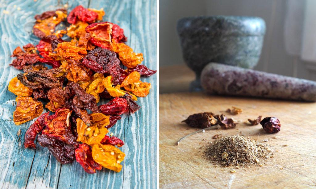 Torkad chili mals eller mortlas till chilipulver