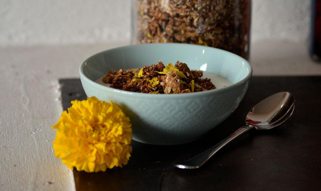 Med kronblad från gul tagetes förgyller du din hemgjorde müsli i dubbel bemärkelse. Foto: Anna Lindeqvist