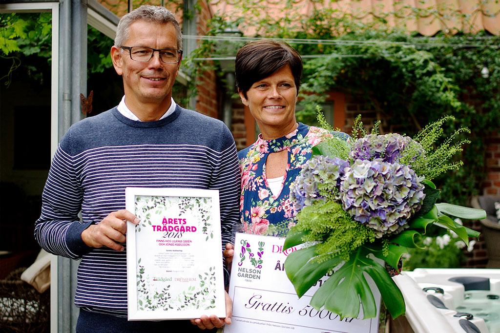 Jonas Karlsson och Ulrika Carén – vinnare av årets trädgård 2018.