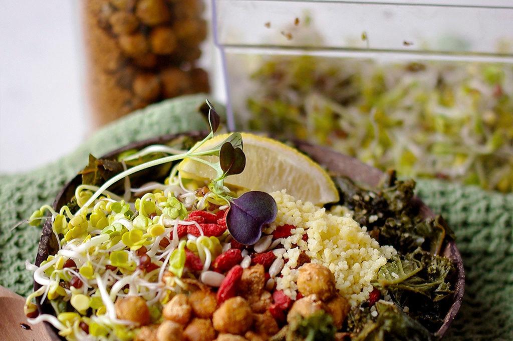 Rättiksgroddar i en skål med couscous.