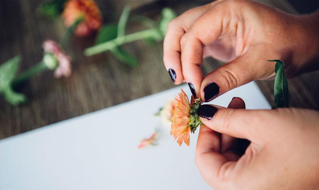 – Trixet är att våga bryta ner blomman till dess minsta beståndsdelar. Då kan du hitta oväntade färger och former som inte är synliga vid första anblicken, säger Hanna.