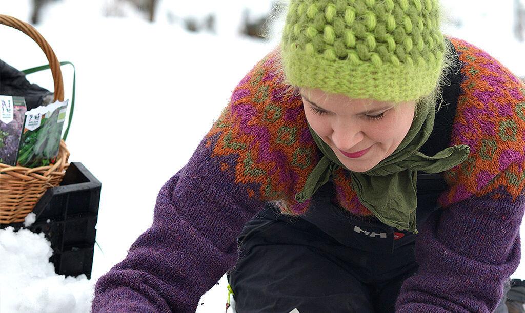 Sara Bäckmo sår på vintern, i snö. Foto: Markus Danielsson