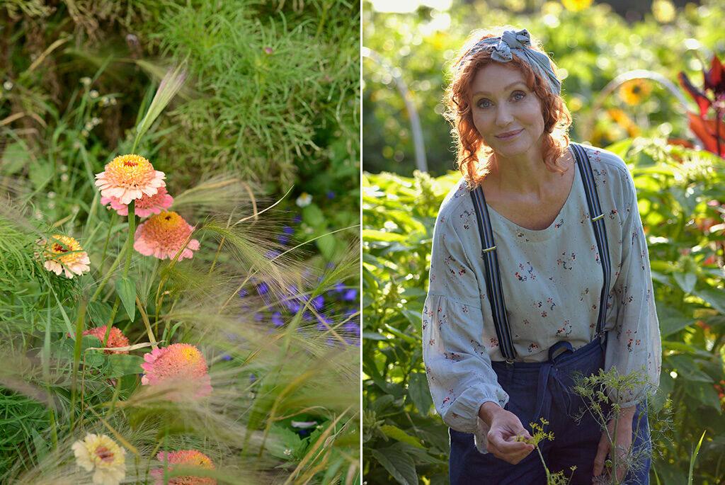 – Blanda knappformade och spiralformade blommor med prydnasgräs och vackra bladverk. Då händer det verkligen något! visar Linda Schilén
